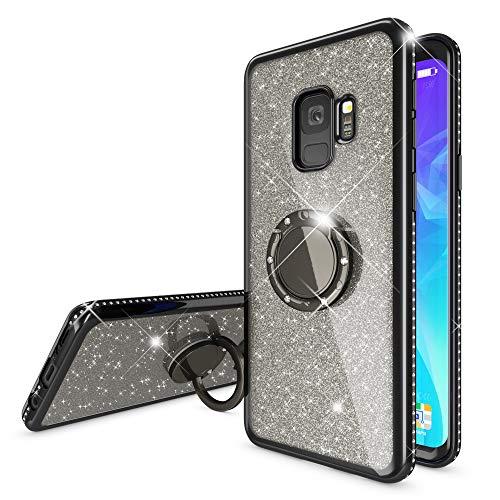 NALIA Ring Hülle kompatibel mit Samsung Galaxy S9, Glitzer Handyhülle Ultra-Slim Silikon Hülle Back-Cover mit 360-Grad Fingerhalterung, Schutzhülle Glitter Handy-Tasche Bumper Etui, Farbe:Schwarz