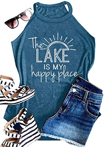 MAOGUYUN Women Summer Graphic High Neck Tank Tops The Lake is My Happy Place Casual Letters Print Sleeveless Shirts Tees (Blue, Small)