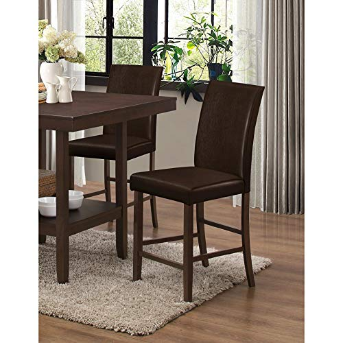 Best Master Furniture Espresso Faux Leather Counter Height Kitchen Chair (Set of 2)