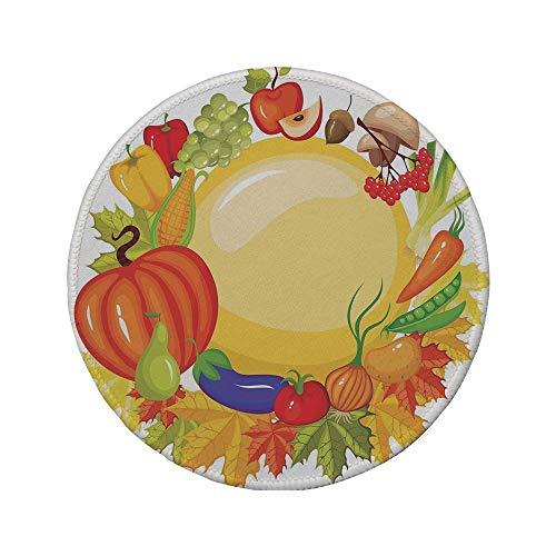 Rutschfeste Gummi-Runde Mauspad Ernte Gartenprodukte aus ganzjährigem Pilz Paprika Karotten Lauch Gesundes Leben Dekorativ Mehrfarbig 7.9