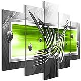 decomonkey Bilder Abstrakt 100x50 cm XXL 5 Teilig Leinwandbilder Bild auf Leinwand Wandbild Kunstdruck Wanddeko Wand Wohnzimmer Wanddekoration Deko 3D grün grau