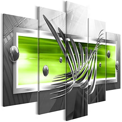 decomonkey Bilder Abstrakt 225x100 cm XXL 5 Teilig Leinwandbilder Bild auf Leinwand Wandbild Kunstdruck Wanddeko Wand Wohnzimmer Wanddekoration Deko 3D grün grau