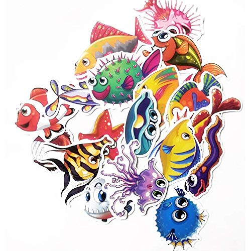 XZZ Ocean Fish Stickers Maleta Maleta Equipaje Maleta Pegatinas Impermeable Skateboard Underwater World Stickers 40Pcs
