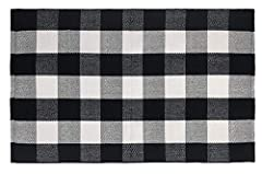 ❄ BEAUTIFUL PLAID DESIGN SUITABLE FOR ALL OCCASIONS: Whether you are looking for a cute black and white rug to enhance your holiday aesthetic, something durable yet high-quality to layer a coir mat with, or an outdoor rug to greet family, friends, an...