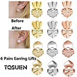 Tsuen Original Magic Earring Lifters, 6 Pairs Magic Backs for Earrings Adjustable Secure Earring Lifts Safety Drooping Earring Backs for Ear Lobe Lifter (2 Silver/ 2 Gold/ 2 Rose Gold) Style 1