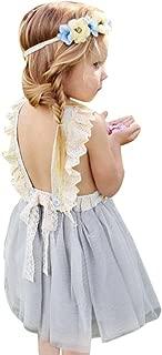 Goodlock Toddler Kids Fashion Dress Flower Girls Princess Dress Backless Children Sleeveless Sundresses Clothes