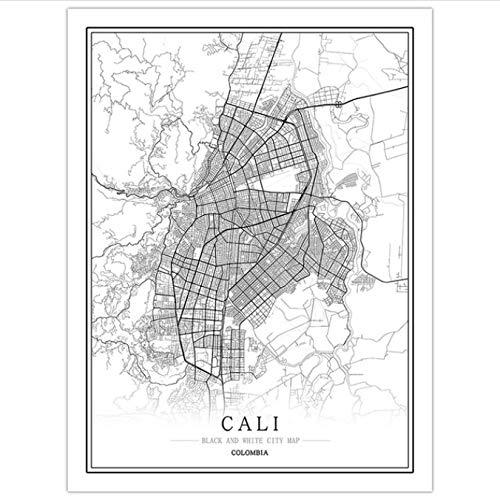 Zahuishile Mapa de la Ciudad Creativa de Colombia Bogotá Pintura Abstracta de la Lona Pintura en Blanco y Negro de la Pared Cartel de la Imagen Decoración del hogar 50X70Cm sin Marco