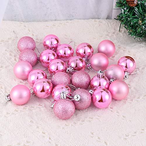 Toyvian 24 Pezzi Ornamenti Palle di Natale Ornamenti Pendenti per Alberi di Natale placcatura Lucida Decorazioni Natalizie Palline Pendenti di Natale Rosa