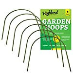 """6 Pack Garden Hoops Raised Bed Stakes for Plant Support Greenhouse Row Cover (20"""" W x 19"""" H) 8 4FT GARDEN HOOPS COME IN A 6 PACK, Each curved hoop pole is made with high quality plastic coated steel pipe to last many seasons. The pole diameter is .43 inches. Once bent, the garden hoop archway height is 19 inches and the width is 20 inches. EASY SET UP, NO TOOLS OR STAKES REQUIRED, Pre sharpened points on both sides of the pole allow for easy placement directly into the ground or raised beds. The hoops are washable, reusable, and lay flat for storage. COST EFFECTIVE MINI GREENHOUSE STRUCTURE, Use all 6 hoops to create a support framework that can be covered with your own choice of plant protection insulation film. Extend the growing season with a DIY cold frame designed with a hoop frame."""