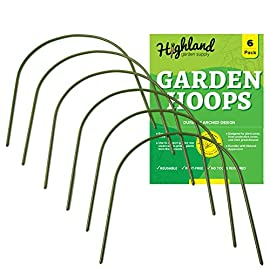 "6 pack garden hoops raised bed stakes for plant support greenhouse row cover (20"" w x 19"" h) 1 4ft garden hoops come in a 6 pack, each curved hoop pole is made with high quality plastic coated steel pipe to last many seasons. The pole diameter is. 43 inches. Once bent, the garden hoop archway height is 19 inches and the width is 20 inches. Easy set up, no tools or stakes required, pre sharpened points on both sides of the pole allow for easy placement directly into the ground or raised beds. The hoops are washable, reusable, and lay flat for storage. Cost effective mini greenhouse structure, use all 6 hoops to create a support framework that can be covered with your own choice of plant protection insulation film. Extend the growing season with a diy cold frame designed with a hoop frame."