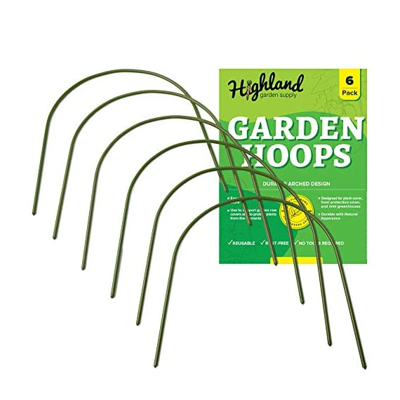 """6 Pack Garden Hoops Raised Bed Stakes for Plant Support Greenhouse Row Cover (20"""" W x 19"""" H) 1 4FT GARDEN HOOPS COME IN A 6 PACK, Each curved hoop pole is made with high quality plastic coated steel pipe to last many seasons. The pole diameter is .43 inches. Once bent, the garden hoop archway height is 19 inches and the width is 20 inches. EASY SET UP, NO TOOLS OR STAKES REQUIRED, Pre sharpened points on both sides of the pole allow for easy placement directly into the ground or raised beds. The hoops are washable, reusable, and lay flat for storage. COST EFFECTIVE MINI GREENHOUSE STRUCTURE, Use all 6 hoops to create a support framework that can be covered with your own choice of plant protection insulation film. Extend the growing season with a DIY cold frame designed with a hoop frame."""