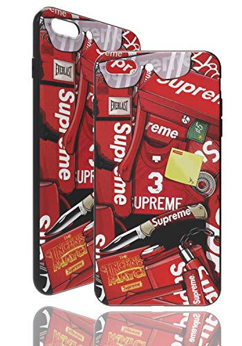 SUP [ Apple iPhone 7 Plus / 8 Plus ] Estuche con el Logotipo de Supreme Sticker - Featherable con un patrón en 3D - Marco Robusto de TPU