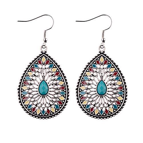 Elegantes elegantes pendientes vintage hechos a mano accesorios elegantes barrocos colores GotOil Pine Pendientes Pino azul de color