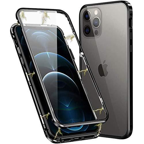 Aest Funda para iPhone 12 Pro/iPhone 12 Adsorción Magnética Carcasa Frente y Parte Posterior de Transparent Vidrio Templado 360 Grados Proteccion Metal Antigolpes Case - Negro