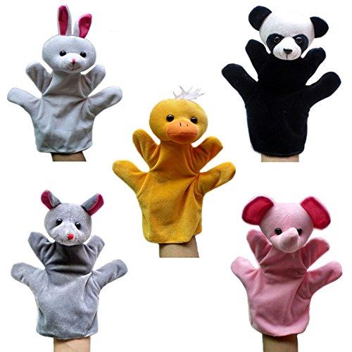 Happy Cherry - Lot de 5 Types Différents Marionnettes à Main - Lapin / Panda / Souris / Eléphant / Canard - Jouets en Peluche pour Enfant Bébé