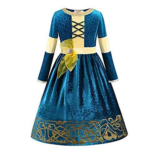 FINDPITAYA Disfraz Niñas Vestido de Merida Cosplay Costume (120)