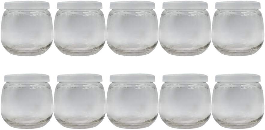 DOITOOL Cheap bargain 10pcs Clear Glass Yogurt Gla with Jars lids NEW before selling ☆ Pudding