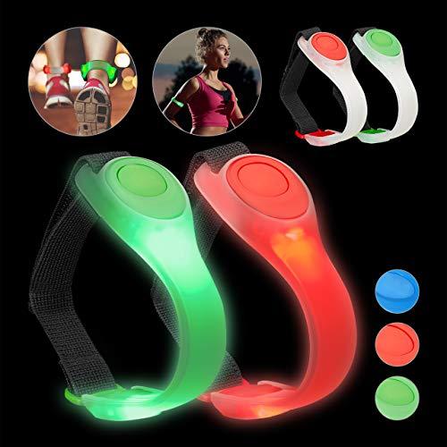 Relaxdays 4 x LED Armband, Jogginglicht blinkend oder durchgehendes Leuchten, Jogging, Laufen, Wandern, Sicherheitslicht, grün/rot