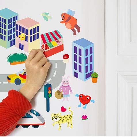 OMY Planches de 100 Stickers repositionnables -pour créer une ville