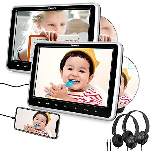"NAVISKAUTO DVD Player für Auto Doppel 10,1"" Tragbarer DVD Player HDMI In Slot In 1080P HD 1024 * 600 Memory USB SD AV In/Out 12V mit Kopfstützenhalterung/Kopfhörer"