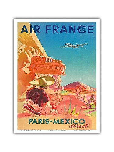 """Pacifica Island Art Paris-Mexico Direct–Frankreich–Maya-Ruinen–Vintage Airline Travel Poster von S. Prout c. 1952–Master Kunstdruck 9"""" x 12"""""""