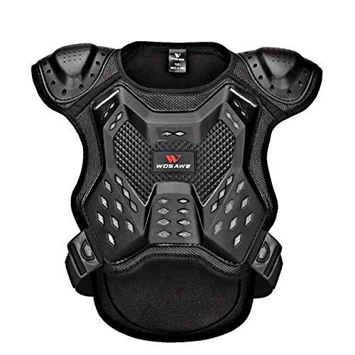 Su-xuri - Equipo de protección para motocross, scooter, moto, chaleco de protección dorsal y pecho, esquí, equitación, niños, equipo de protección para deportes de armadura (negro)