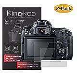 kinokoo Film de Verre trempé pour Canon EOS 90D/70D/77D/80D/700D/750D/760D/800D Film de Protection d'écran Crystal Clear Canon sans Bulles/Anti-Rayures (Paquet de 2)