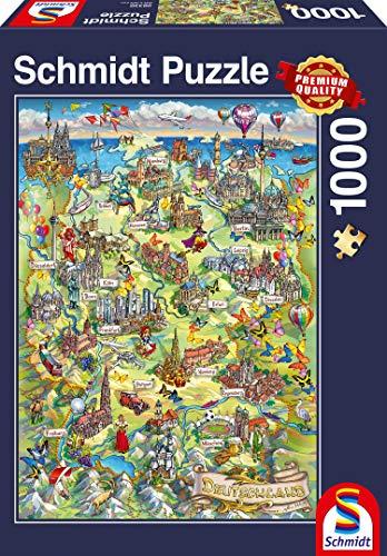 Schmidt spel puzzel 58330 - geïllustreerde kaart van Duitsland, 1.000 delen puzzel
