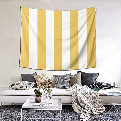 Tapiz de pared para colgar en la pared, color amarillo y blanco, diseño de rayas, para salón, dormitorio, decoración del hogar, 152 x 130 cm