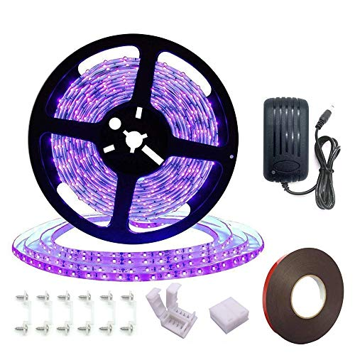 Black Light Strip, Purple led Strip Lights 16.4Ft/5M 24W 300 Units Lamp Beads, IP65 Waterproof Purple Light for Fluorescent Dance Party, Body Paint, Night Fishing, with 12V 2A Power Supply