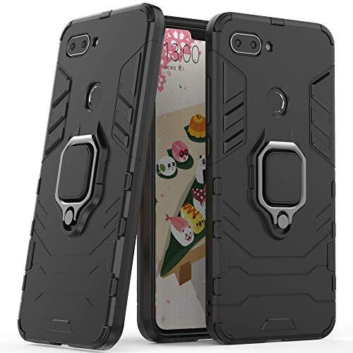 Compatible con Xiaomi Mi 8 Lite Funda, Anillo Metálico Sujeción Soporte Antichoque Rígido Caja (Funciona con el Montaje de Coche Magnético) Doble Capa Sólido Case Carcasa para Xiaomi Mi8 Lite (Negro)