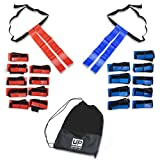 Tag Belts With Flags- Flags of Vinyl Fabric With Belts and Hook-and-Loop Fasteners (10 Red and 10 Blue Belt Sets) - Great For Flag Football