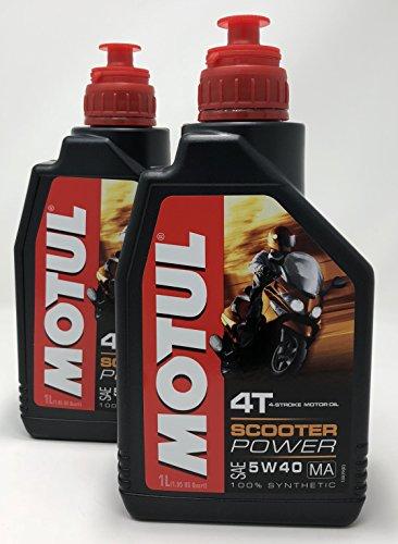 MOTUL Acete Motor Moto 4 Tiempos Scooter Power SAE 5W-40 MA, 2 litros (2x1 lt)