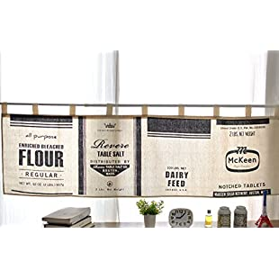 FUYA Modern Black& White Minimalist Style Kitchen Half-curtain Kitchen Curtain Cafe Short Panel Curtain (B)