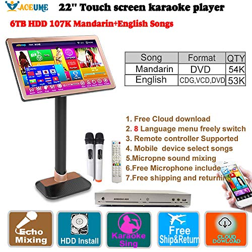 Review 22''Touch Screen Karaoke Player,6TB HDD 107K Mandarin,DVD Songs,English CDG,VCD, DVD Songs.EC...