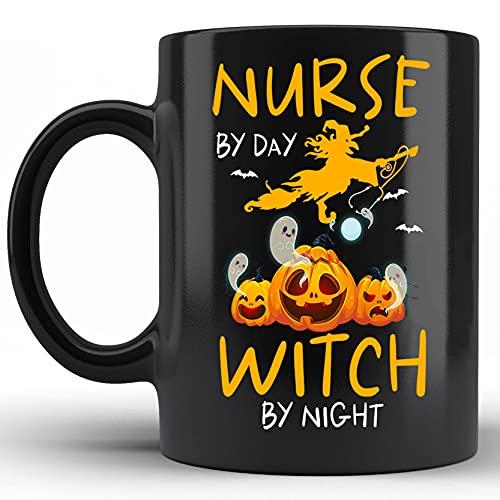 Enfermera por da bruja por noche enfermera Halloween disfraz brujas cermica novedad taza taza personalizada negro 11 oz