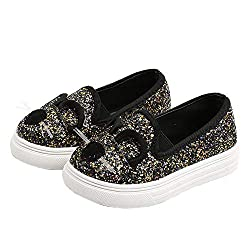 Black Cartoon Cat Loafers With Sequins