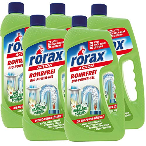5x rorax Rohrfrei Bio-Power-Gel 1 Liter - Löst selbst Haare auf