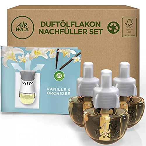 Air Wick Duftölflakon - Nachfüller Set Vanille & Orchidee - Würzig-blumiger Raumduft mit ätherischen Ölen - 3x19ml Duftöl Set