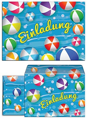 JuNa-Experten 12 Einladungskarten incl. 12 Umschläge zum Kindergeburtstag Schwimmbad Party Wasserbälle / Einladungen für Mädchen und Jungen / Umschlag / Pool Party
