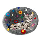 Cat Cave Bed Relax Station House (Large) ~ Handmade Eco Friendly Natural Felted Merino Wool ~ Warm and Cozy Beds for Cats and Kittens by COOL WOOL ~ Bonus Felt Wool Ball (Grey, Dotted)
