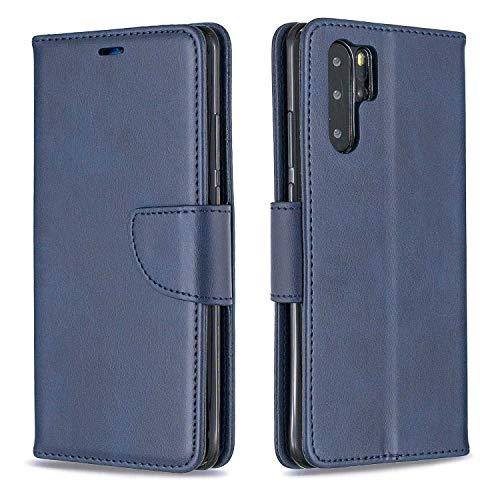 GIMTON Antichoc Coque pour Huawei P30 Pro, Magnétique Étui en Cuir pour Huawei P30 Pro, Housse à Rabat avec Fente pour Cartes et Dragonne Amovible, Bleu