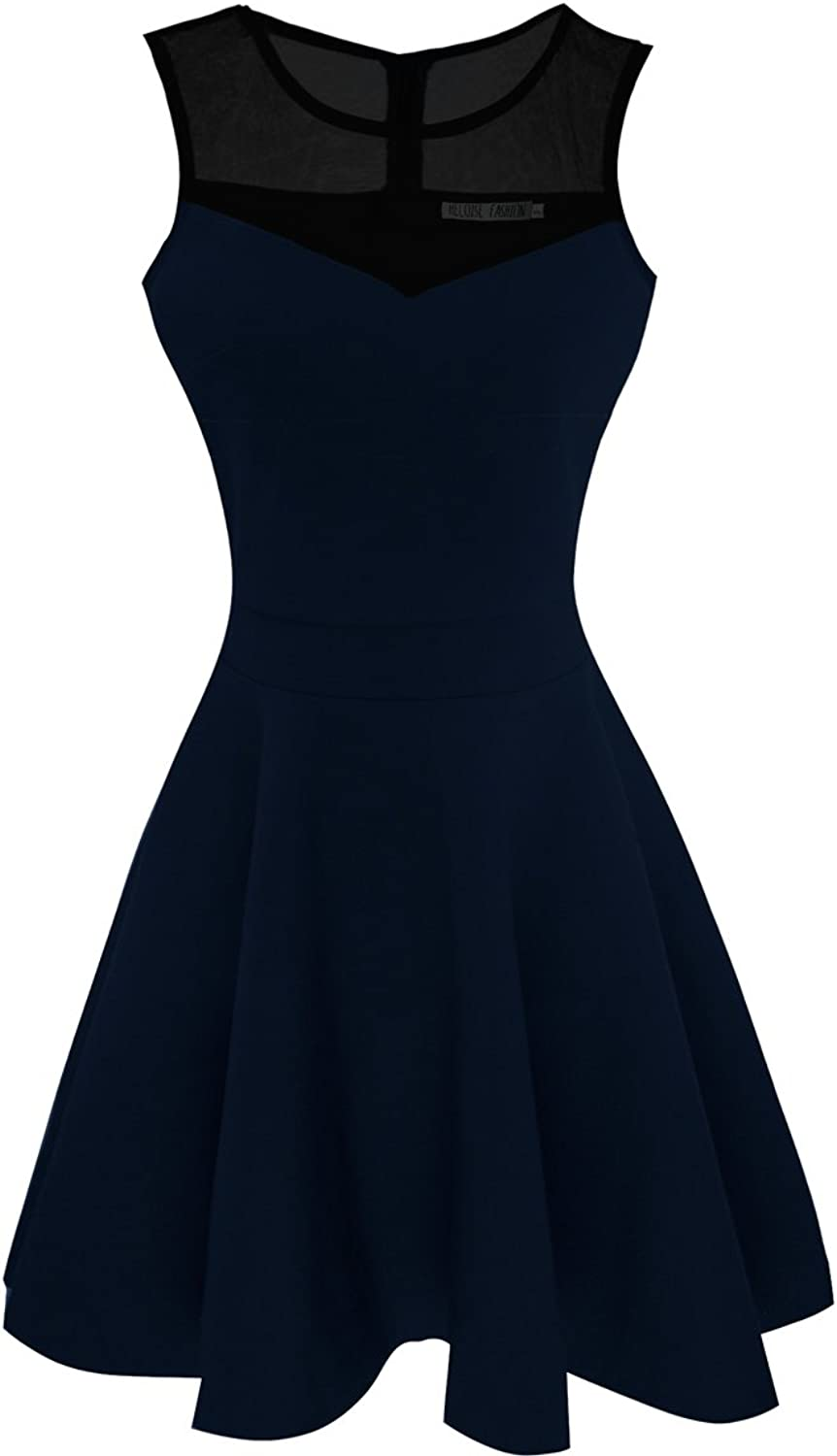 Sylvestidoso Women's ALine Sleeveless Pleated Little Dark Navy bluee Cocktail Party Dress with Black Mesh (S, Navy)