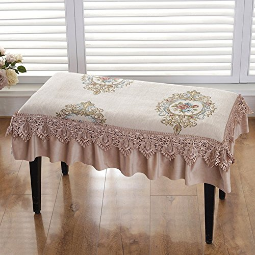 XMZDDZ Piano Stool Cover Lace Cushion,Dining Chair Mat Dinette Mat Rectangular Bench Cover Pad for Dining Room Piano Non-Slip Chair Pad-B 78x38cm(31x15inch)
