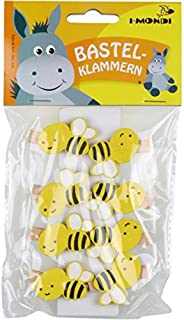 i-mondi® Pinzas para ropa de madera pequeñas con animales, abeja 8 piezas 10 x 30 mm, con resortes resistentes