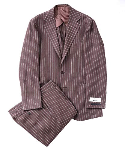 [ナノユニバース] RING JACKET リングジャケット 別注 BRYSON ストライプリネン3B スーツ メンズ 46 ブラウン