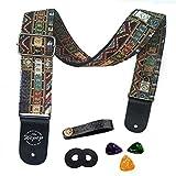 Wepop Guitar Strap Vintage Woven Style Adjustable Acoustic Electric Guitar Bass Strap with Leather Ends, Picks, Strap(Folk lattice)