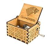 Meiion Antigua caja de música de madera tallada música de manivela:...