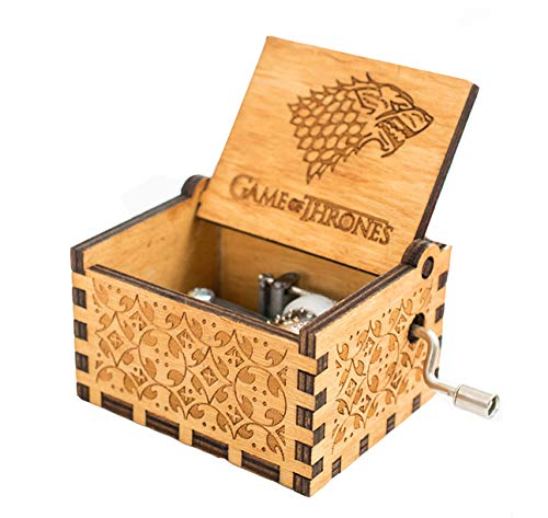 Meiion Antigua caja de música de madera tallada música de manivela: Juego de tronos