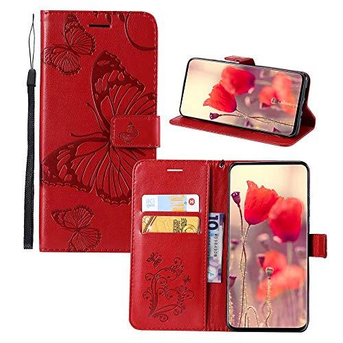 JZ Capa carteira com borboleta 3D em relevo para Motorola Moto Z3 Play Capa protetora para celular [magnética e alça de pulso] - Vermelha